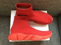 sapatilhas deslizantes para homens venda por atacado-2018 Sapatos de Meia Sapato De Malha de Luxo Sapatilhas Ocasionais Sapatilhas Speed Trainer Meia Raça Moda Sapatos Pretos Das Mulheres Dos Homens de Calçados Esportivos Todos VERMELHO