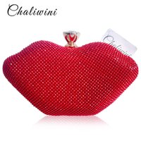 Wholesale sexy women wallets for sale - Group buy Sexy Female Red Lips Crystal Purses And Handbags Ladies Metal Day Toiletry Punk Party Wallet Women Shoulder Evening Clutch Bag J190630