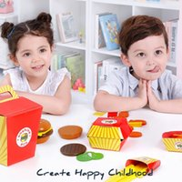 Wholesale toys play for sale - Group buy Wooden Play Fast Food Set Mini Burger Cola French fries Steak chicken nuggets Pretend Play Kitchen Toys for Children