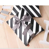 Wholesale box gifts ideas for sale - Group buy Gift Boxes Black Stripe Small Package Creative Idea Candy Container High Grade Packing Pillow Carton Factory Direct Selling hj p1