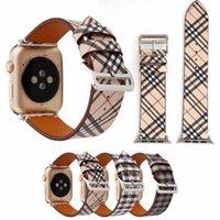 marca impresa relojes al por mayor-Correas de Apple Watch de lujo Diseñador Apple Watch Band Iwatch 38mm 42mm Iwatch 2 3 Bandas Fashion Grid Print Leather Brand IWatch Straps