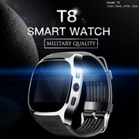 Wholesale q18 smart watch for sale - For apple iPhone android T8 Bluetooth Smart watch Pedometer SIM TF Card With Camera Sync Call Message Smartwatch pk DZ09 U8 Q18 fitbit