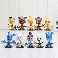 base de ação venda por atacado-Cinco Noites Em Freddy 's 10 pçs / set 6 cm Figura de Ação Brinquedos Modelos Fnaf Freddy Figuras Presente Com Base