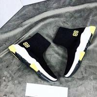 zapatillas altas amarillas al por mayor-Zapatos de calcetín negro Suela amarilla Diseñador Speed Trainer Hombres Mujeres High Top Knit Sock Shoes Nuevos colores 2019 Venta caliente Zapatillas de deporte de moda