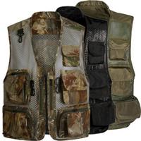 53d7bebb7c8b95 hunting vests pockets NZ - Laamei Men Camo Mesh Multi Pockets Camo Fish  Hunt Vest Shooting