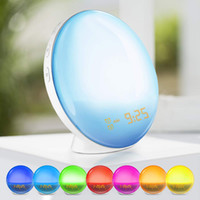 Wholesale speaker controller for sale - Group buy Wake Up Light Alarm Clock with Colored Sunrise Simulation and FM Radio for Bedroom Support Alexa Google Home AI Speaker Voice Controller