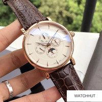 Wholesale Top Brand watch Multi Function Mens Watch Leather Strap automatic mechanical movement mineral tempered glass mirror diameter mm thick mm