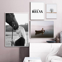 Wholesale horse canvas prints for sale - Group buy Canvas Decorativos Painting Relax Quotes Nordic Scandinavian Wall Poster Landscape Canvas Piece Horse Picture HD Print Pop Art
