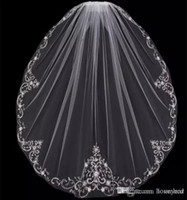 New Arrival One Layer Fingertip Wedding Veils Applique Sequins Beads Edge Cheap Tulle Bridal Veil For Bride With Comb