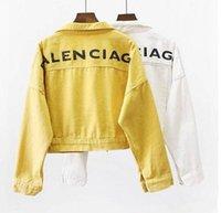 casacos de denim manga longa venda por atacado-Cintura alta Denim Jacket Feminino Outono selvagem Curto Harajuku estilo estudante manga comprida Jacket XL solto