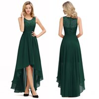 Wholesale flowered chiffon gowns for sale - Group buy 2020 Dark Green Chiffon Long Bridesmaid Dresses High Low Wedding Guest Party Gown Sleeveless Lace Flower vestido madrinha cps1323