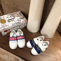 Wholesale baby leather sole shoes resale online - Kid shoes fashion brand designer shoes sneaker for baby boy girl athletic running shoes cow leather vamp rubber sole high quality