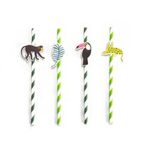 Wholesale animal cutouts for sale - Group buy Home Garden Pack of Jungle Animal Party Paper Straws with Toucan Monkey Tropical Leaves Cutouts Tropical Birthday Party Shower Supplies