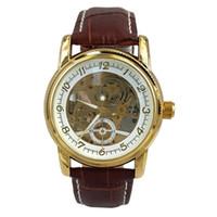 коричневый кожаный браслет оптовых-Chronomart Orkina Мужские золотого цвета Корпус Механический циферблат Коричневый кожаный ремешок наручные часы ORK-0014