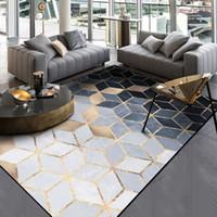 tapis gris achat en gros de-Mode Moderne Abstrait Doré Noir Gris Diamants Porte Pied Salle De Bains Tapis De Cuisine Salon Chambre Tapis Décoratif Tapis