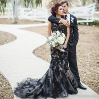 schwarzes goldspitzegewebe großhandel-Schwarze gotische Nixe-Hochzeits-Kleider 2019 schnüren sich nach Maß schwarze Appliques Tulle-Gewebe-Brauthochzeits-Kleider Sweep Train robe de mariage