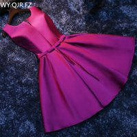 Wholesale korean girl gown short resale online - PTH HJZY69 Short lace up new Korean slim banquet party dress Bridesmaid Dresses purple red prom white gown girl