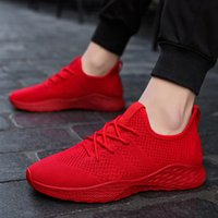 famosos diseñadores de talla grande al por mayor-Gnome 2018 New White Red Black Fly Weave Sneakers Men Plus Size 48 Light Casual Shoes Men Famous Brand Designer Tenis Hombres Zapatos MX190713