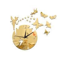 espelhos de etiqueta de ouro venda por atacado-Varinha mágica de fadas Relógio de parede Estudo quarto sala de estar fundo parede espelho sliver ouro preto adesivo Relógio silencioso