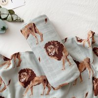 Wholesale camel blanket for sale - Group buy muslin Two layer Bamboo cotton Camel lion elephant animal pattern Baby wrap muslin swaddle Newborn Blankets Gauze infant wrap Y200109