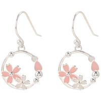 corazón de la flor de cerezo al por mayor-Cherry Blossom Loop Pendientes Pure Silver Girl Corazón Earhook Temperamento Estudiante individual coreano Conjunto de aretes simples