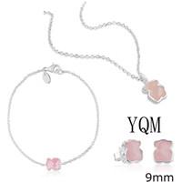 pendientes de collar de cuarzo al por mayor-Pendientes 100% 925 facetadas de cuarzo rosa rosa las mujeres del oso clavícula cadena collar de la pulsera perforada