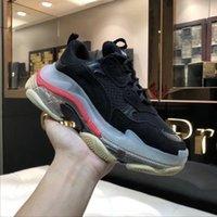 erkek deri giyim toptan satış-Yeni moda Üçlü s tasarımcı ayakkabı adam gerçek deri temizle sole en kaliteli Sıkıntılı tasarımcı sneaker giyim kadın koşu ayakkabı
