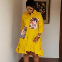 kadınlar için bahar moda elbisesi toptan satış-İlkbahar Sonbahar Moda Sarı Baskı Pileli elbise Casual Sevimli Kadınlar Boncuk Gömlek Elbise Uzun Kollu Artı boyutu vestidos