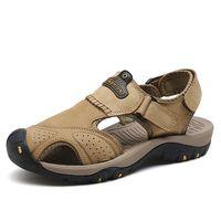 GNORNIL Brand Men Sandals Summer 2020 High Quality Split Leather Men Shoes Closed Toe Anti collision Casual Sandals Mens Shoes