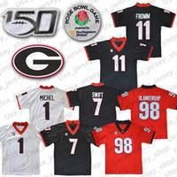 rote schwarze trikots großhandel-NCAA Georgia Bulldogs 11 Jake Fromm 7 Dandre Swift 1 Michel Schwarz Rot Weiß UGA Rose Bowl Trikots 150.