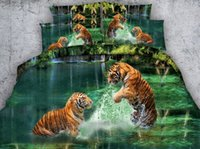 Wholesale 3d tiger bedding sets for sale - Group buy 3D Aqua green Tiger Bedding sets Animal print quilt duvet cover bedspreads bed sheet linens California King size Queen twin