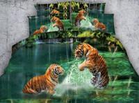 Wholesale animal bedding duvet set resale online - 3D Aqua green Tiger Bedding sets Animal print quilt duvet cover bedspreads bed sheet linens California King size Queen twin