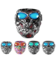 Wholesale sunglasses skull for sale - Motorcycle Ski Goggles with Face Mask Motorbike Racing Protection Face Mask skull design driving Sunglasses LJJK1352
