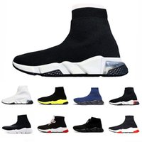 graue mens-turnschuhe groihandel-Balenciaga sneakers 2020 Clearsole speed trainer sock shoes Clear sole men women sneakers black red white Yellow Fluo Gray mens fashion casual shoe 36-45