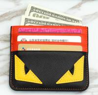 Wholesale cartoon bank card holder for sale - Group buy Designer Card Holder credit card holder leather Spoof Small Monster Clip Bank Bag mens card holder Super slim wallet styles