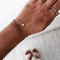 braceletes de encanto de ligação de cadeia pequena venda por atacado-2 pçs / set Minimalista de Ouro Cor Prata Pequeno Amor Cadeia de Ligação Pulseiras Para As Mulheres Amizade Amor Charme Pulseiras Pulseiras Jóias