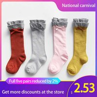 Wholesale bow socks for girls for sale - Group buy Baby Girl Socks For Newborns Knee High Thick Socks Bowknot Bow Princess Sokjes Toddler Baby Non Slip Sock Long Tube