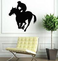 Wholesale wall rider resale online - Vinyl Wall Sticker Man Horse Rider Window Decal Removable Horse Racing Sport Vinyl Wall Art Mural Horse Ride Wall Poster