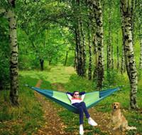 rede de nylon portátil venda por atacado-270 * 140 cm Camping Hammock 2 Pessoa Portátil Parachute Nylon Ao Ar Livre de Viagem de Sono Hammocks Com Cordas Balanço Pendurado Cama MMA1975