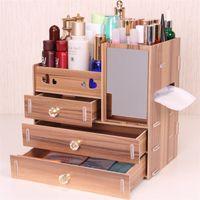 ящики для ящиков для хранения древесины оптовых-Urijk DIY деревянная коробка для хранения макияж организатор ювелирные изделия контейнер деревянный ящик организатор handmade косметическая коробка хранения