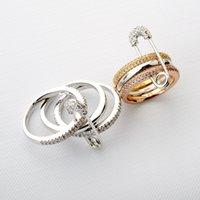pieza de broche clásico al por mayor-Richlight-97624 Juego de tres anillos desmontables Anillos de broche Conjunto de anillos Ziron Joyas de tres piezas clásicas para mujeres