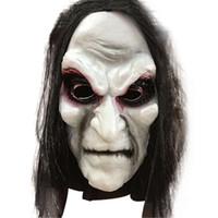 korkunç zombi maskeleri toptan satış-Cadılar bayramı Zombi Maske Sahne Grud Hayalet Hedging Zombi Maskesi Gerçekçi Masquerade Cadılar Bayramı Maskesi Uzun Saç Hayalet Korkunç Maskeleri