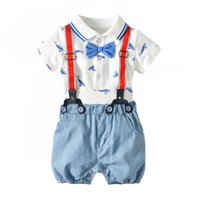 Wholesale white romper baby shirts resale online - Summer new Newborn Outfits Baby Suit shirt baby romper suspender shorts Boys Clothing Sets Infant sets cotton Baby Boy Clothes A4780