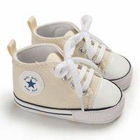ingrosso scarpe da ginnastica sveglie della neonata-Ragazza del neonato antiscivolo suola molle Presepe scarpe da ginnastica di tela casual Prewalkers primo camminatore Carino Lettera bello molle calza 0-18M