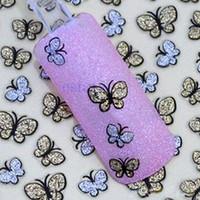 kelebek çivi toptan satış-Güzellik 3D Glitter Kelebek Nail Art Etiketler Nail İpuçları Manikür Çıkartmaları DIY 38693