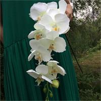 ingrosso centerpieces della farfalla-10pcs Artificiale Phalaenopsis Farfalla Orchidee Ramo di fiori per centrotavola matrimonio casa Decorativo Fiore finto