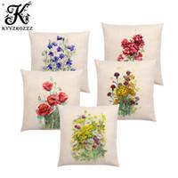 violettes bouquet großhandel-Aquarell Blumen Bluebells Geranium Cornflowers Hollyhocks Bouquet Floral Aquarelle Gute Kissenbezug Sofa Kissenbezug