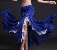 falda de danza del vientre azul real al por mayor-Falda de danza del vientre para mujer Tribal Lotus Edge Bailarina Disfraces Falda larga Vestido de sirena Púrpura Azul real Rojo Blanco Envío gratis