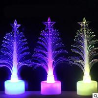 оптоволоконная легкая игрушка оптовых-1шт изменение светодиодные волоконно-оптические ночь свет вверх игрушка лампа на батарейках небольшой свет Рождественская елка декор романтический цвет