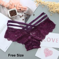 ingrosso una mutandine di stringhe-Mutandine sexy Donne Lace Low-rise Solid Sexy Slip Biancheria intima femminile Pant signore Cross strap pizzo Lingerie Women G String Thong One Free Size